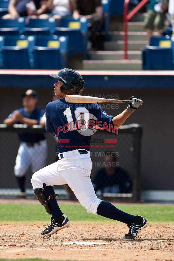 April 11th 2010: Sergio Miranda of the Brevard County Manatees, the Florida State League High-A affiliate of the Milwaukee Brewers in a game against the of the Daytona Cubs, the Florida State League High-A affiliate of the Chicago Cubs at Space Coast Stadium in Viera, FL (Photo By Scott Jontes/Four Seam Images)