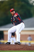 Batavia Muckdogs relief pitcher Javier Garcia (36) during a game against the Mahoning Valley Scrappers on August 18, 2016 at Dwyer Stadium in Batavia, New York.  Batavia defeated Mahoning Valley 2-1 in twelve innings. (Mike Janes/Four Seam Images)