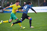 Riley Bidois (left) and Haris Zeb during the Central League football match between Miramar Rangers and Lower Hutt AFC at David Farrington Park in Wellington, New Zealand on Saturday, 10 April 2021. Photo: Dave Lintott / lintottphoto.co.nz
