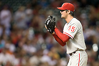 Philadelphia Phillies pitcher Cole Hamels #35 looks in for the sign during the Major League Baseball game against the Houston Astros at Minute Maid Park in Houston, Texas on September 13, 2011. Houston defeated Philadelphia 5-2.  (Andrew Woolley/Four Seam Images)