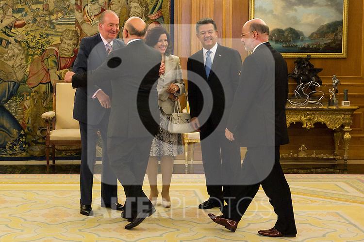 03.07.2012. King Juan Carlos I of Spain attends the Dominican Republic's President Leonel Fernandez and his wife Margarita Cedeño in the Zarzuela Palace. In the image Leonel Fernandez , Juan Carlos I de Borbon and Margarita Cedeño  (Alterphotos/Marta Gonzalez)