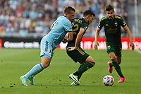 ST PAUL, MN - JULY 24: Josecarlos Van Rankin #2 of the Portland Timbers with the ball during a game between Portland Timbers and Minnesota United FC at Allianz Field on July 24, 2021 in St Paul, Minnesota.
