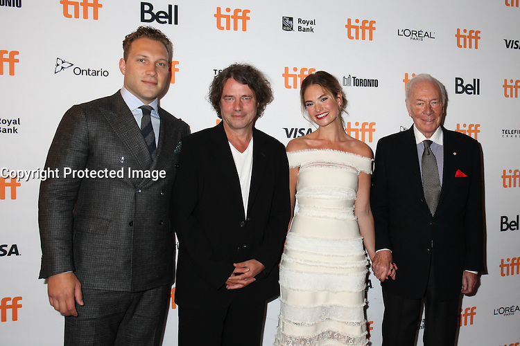 JAI COURTNEY, DIRECTOR DAVID LEVEAUX, LILY JAMES AND CHRISTOPHER PLUMMER - RED CARPET OF THE FILM 'THE EXCEPTION' - 41ST TORONTO INTERNATIONAL FILM FESTIVAL 2016 . 15/09/2016. # FESTIVAL INTERNATIONAL DU FILM DE TORONTO 2016