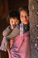 Bhaktapur, Nepal 1990. Sisters in Bhaktapur, Nepal 1990