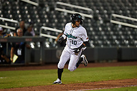 Salt River Rafters Victor Victor Mesa (10), of the Miami Marlins organization, runs toward home plate to score a run during an Arizona Fall League game against the Naranjeros de Hermosillo on September 24, 2019 at Salt River Fields at Talking Stick in Phoenix, Arizona. Salt River defeated Hermosillo 4-1. The Naranjeros, of the Mexican Pacific League, played in Scottsdale as part of the Mexican baseball Fiesta. (Zachary Lucy/Four Seam Images)