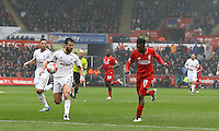 Daniel Sturridge of Liverpool goes close to scoring during the Barclays Premier League match between Swansea City and Liverpool played at the Liberty Stadium, Swansea on 1st May 2016