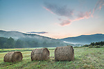 Hay bales at the Battenkill Farm in Arlington, Vermont, USA