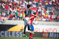 Orlando, Florida - Saturday, June 04, 2016: Paraguayan defender Gustavo Gomez (3) goes over Costa Rican forward Marco Urena (21) to win a header during a Group A Copa America Centenario match between Costa Rica and Paraguay at Camping World Stadium.