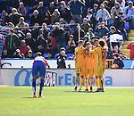 FC Barcelona's  Neymar, Lionel Messi, Luis Suarez celebrating a goal during La Liga match. February 7, 2016. (ALTERPHOTOS/Javier Comos)