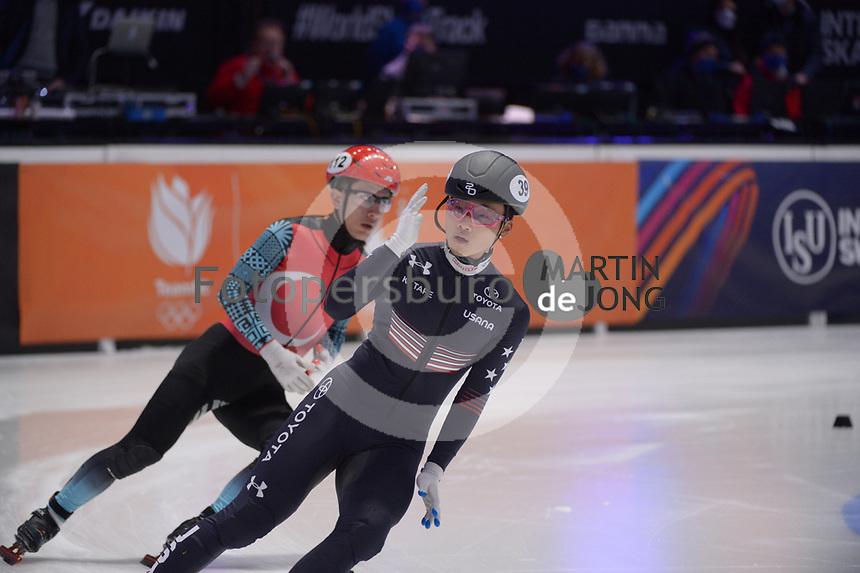 SPEEDSKATING: DORDRECHT: 06-03-2021, ISU World Short Track Speedskating Championships, RF 500m Men, Andrew Heo (USA), ©photo Martin de Jong