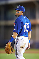 GCL Blue Jays third baseman Alfredo Bohorquez (13) during the second game of a doubleheader against the GCL Phillies on August 15, 2016 at Florida Auto Exchange Stadium in Dunedin, Florida.  GCL Phillies defeated the GCL Blue Jays 4-0.  (Mike Janes/Four Seam Images)