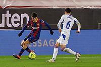 29th December 2020; Camp Nou, Barcelona, Catalonia, Spain; La Liga Football, Barcelona versus Eibar;  Pedri FC Barcelona midfielder controls the ball and looks to take on Sergio SD EIbar midfielder