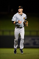 Mesa Solar Sox center fielder Greg Deichmann (9), of the Oakland Athletics organization, jogs off the field between innings of an Arizona Fall League game against the Salt River Rafters on September 19, 2019 at Salt River Fields at Talking Stick in Scottsdale, Arizona. Salt River defeated Mesa 4-1. (Zachary Lucy/Four Seam Images)