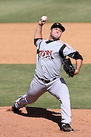 Dennis O'Grady #26 of the Lake Elsinore Storm pitches against the Lancaster JetHawks at Clear Channel Stadium on April 15, 2012 in Lancaster,California. Lake Elsinore defeated Lancaster 7-5.(Larry Goren/Four Seam Images)