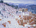 Bryce National Park, UT: Fresh snow dusting the ridges and hoodos of Ponderosa Canyon