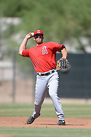 Los Angels Angels of Anaheim third baseman Cal Towey (25) during an instructional league game against the Colorado Rockies on September 30, 2013 at Tempe Diablo Stadium Complex in Tempe, Arizona.  (Mike Janes/Four Seam Images)