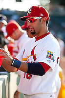 Alex Castellanos (18) of the Springfield Cardinals signs autographs for fans prior to a game against the Tulsa Drillers at Hammons Field on July 20, 2011 in Springfield, Missouri. Springfield defeated Tulsa 12-1. (David Welker / Four Seam Images)