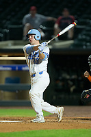 Brendan Illies (43) of the North Carolina Tar Heels follows through on a pinch-hit RBI double against the Miami Hurricanes in the second semifinal of the 2017 ACC Baseball Championship at Louisville Slugger Field on May 27, 2017 in Louisville, Kentucky.  The Tar Heels defeated the Hurricanes 12-4.  (Brian Westerholt/Four Seam Images)