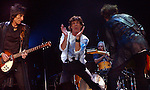 From left; Ron Wood, Mick Jagger, Charlie Watts (on drums), and Keith Richards, right, during the Rolling Stones concert, Thursday night at the Staples center in Los Angeles.