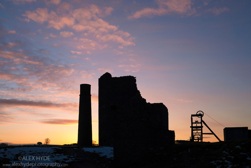 Magpie Mine, an abandoned lead mine, photographed at sunrise. Peak District National Park, Derbyshire, UK. March.