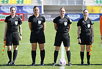 20190301 - LARNACA , CYPRUS : referees pictured with assistant referee Sian Massey (right) ,  Esther Staubli (middle R) , Cypriotic referee Androula Saitti Mouhtari (middle L) and assistant referee Susanne Kung (left) during a women's soccer game between Finland and Czech Republic , on Friday 1 March 2019 at the AEK Arena in Larnaca , Cyprus . This is the second game in group A for Both teams during the Cyprus Womens Cup 2019 , a prestigious women soccer tournament as a preparation on the Uefa Women's Euro 2021 qualification duels. PHOTO SPORTPIX.BE   DAVID CATRY
