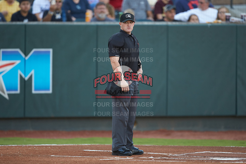 Home plate umpire Lane Culipher prior to the start of the Appalachian League playoff game between the Burlington Royals and the Pulaski Yankees at Calfee Park on September 1, 2019 in Pulaski, Virginia. The Royals defeated the Yankees 5-4 in 17 innings. (Brian Westerholt/Four Seam Images)