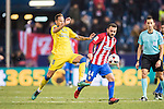 Keidi Bare (r) of Atletico de Madrid battles for the ball with Javi Castellano of UD Las Palmas during their Copa del Rey 2016-17 Round of 16 match between Atletico de Madrid and UD Las Palmas at the Vicente Calderón Stadium on 10 January 2017 in Madrid, Spain. Photo by Diego Gonzalez Souto / Power Sport Images