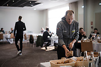 race food breakfast for Matteo TRENTIN (ITA/Mitchelton-Scott)<br /> <br /> 117th Paris-Roubaix 2019 (1.UWT)<br /> One day race from Compiègne to Roubaix (FRA/257km)<br /> <br /> ©kramon