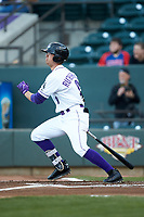 Blake Rutherford (9) of the Winston-Salem Dash follows through on his swing against the Lynchburg Hillcats at BB&T Ballpark on May 1, 2018 in Winston-Salem, North Carolina. The Dash defeated the Hillcats 9-0. (Brian Westerholt/Four Seam Images)