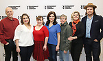 """Mark Blum, Vanessa Aspillaga, Jamie Brewer, Diane Davis, Edward Barbanell, Debra Monk, and Josh McDermitt attends the Meet & Greet for the cast of """"Amy and the Orphans"""" at the Roundabout Theatre rehearsal hall on January 10, 2018 in New York City."""