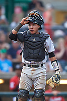 Grand Junction Rockies catcher Ronaiker Palma (47) during a Pioneer League game against the Billings Mustangs at Dehler Park on August 14, 2019 in Billings, Montana. Grand Junction defeated Billings 8-5. (Zachary Lucy/Four Seam Images)