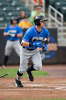 Brendan McKay (38) of the Hudson Valley Renegades starts down the first base line Aberdeen IronBirds at Leidos Field at Ripken Stadium on July 27, 2017 in Aberdeen, Maryland.  The Renegades defeated the IronBirds 2-0 in game one of a double-header.  (Brian Westerholt/Four Seam Images)
