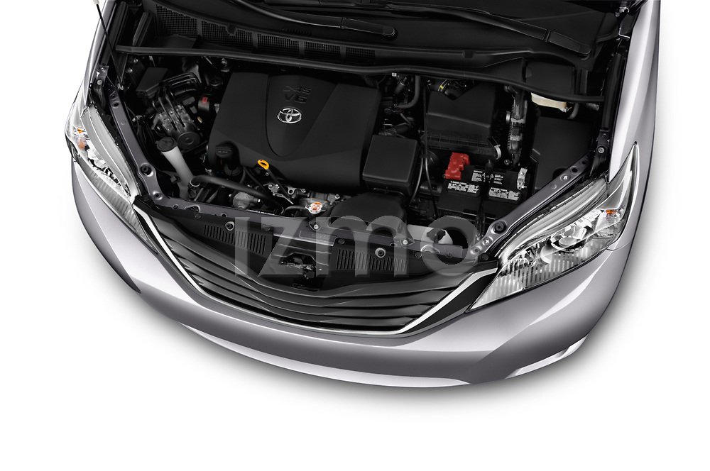 Car stock 2017 Toyota Sienna LE 5 Door Mini Van engine high angle detail view