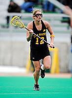 5 April 2008: University at Albany Great Danes' Midfielder Brittany Scott, a Senior from Baldwinsville, NY, in action against the University of Vermont Catamounts at Moulton Winder Field, in Burlington, Vermont. With only seconds left in regulation time, the Catamounts rallied to defeat the visiting Danes 11-10 in America East conference play...Mandatory Photo Credit: Ed Wolfstein Photo