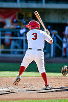 Jordan Zimmerman (3) of the Orem Owlz at bat against the Grand Junction Rockies in Pioneer League action at Home of the Owlz on July 6, 2016 in Orem, Utah. The Owlz defeated the Rockies 9-1 in Game 1 of the double header.  (Stephen Smith/Four Seam Images)