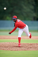 GCL Phillies West pitcher Juan Miranda (71) during a Gulf Coast League game against the GCL Tigers West on July 27, 2019 at the Carpenter Complex in Clearwater, Florida.  (Mike Janes/Four Seam Images)