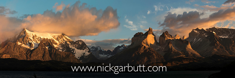 The granitic peaks of Cuernos del Paine at sunrise - part of the Central Massif in Torres del Paine National Park (Parque Nacional Torres del Paine), Patagonia, Chile, South America.