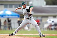 USF Bulls pitcher Adrian Puig #40 delivers a pitch during a game against the Ohio State Buckeyes at the Big Ten/Big East Challenge at Walter Fuller Complex on February 17, 2012 in St. Petersburg, Florida.  (Mike Janes/Four Seam Images)