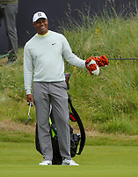150719 | The 148th Open - Monday Practice<br /> <br /> Tiger Woods of USA on the 18th green during practice for the 148th Open Championship at Royal Portrush Golf Club, County Antrim, Northern Ireland. Photo by John Dickson - DICKSONDIGITAL