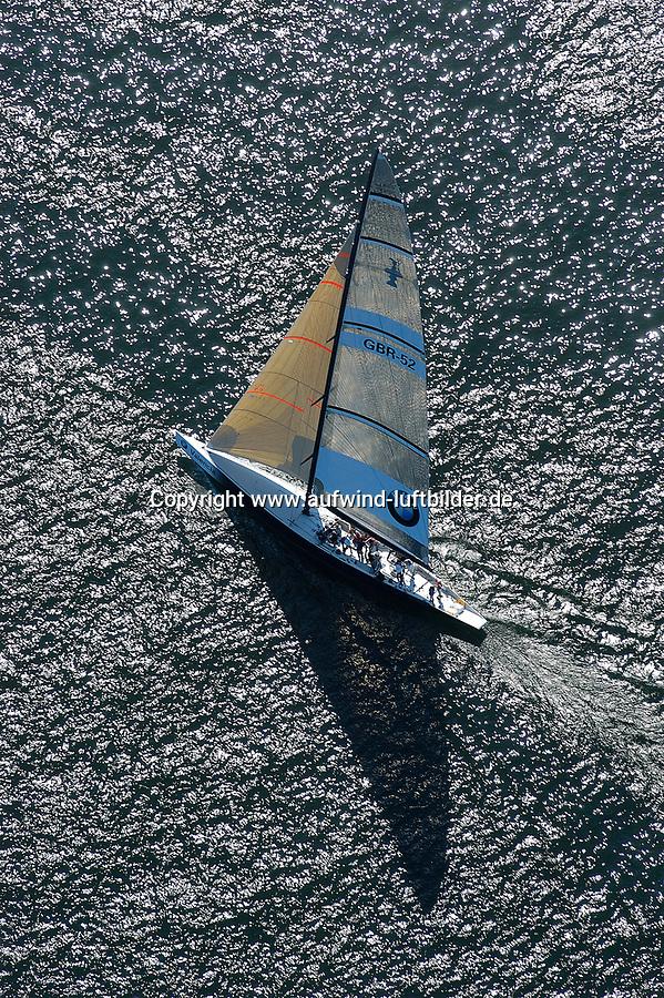 """Kieler Woche:EUROPA, DEUTSCHLAND, SCHLESWIG- HOLSTEIN, KIEL 21.06.2005:<br />Sportyacht Valencia, gechartert von BMW fuer Werbung bei der Kieler Woche. <br />Auf der """"Kiel"""" und der """"Valencia"""", zwei Yachten, die beim America's Cup 1995 und 2000 gestartet waren, soll Gaesten  der Segelsport nah  gebracht werden. <br /><br />Luftaufnahme, Luftbild,  Luftansicht"""