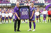 Orlando, FL - Saturday July 21, 2018:  Tom Sermanni, Ali Krieger celebrate her 100th NWSL Match, Orlando Pride vs Seattle Reign at Orlando City Stadium.