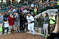 Left fielder Tim Tebow (15) of the Columbia Fireflies is introduced before his first Class A game against the Augusta GreenJackets on Opening Day, Thursday, April 6, 2017, at Spirit Communications Park in Columbia, South Carolina. (Tom Priddy/Four Seam Images)