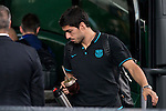 Luis Suarez arrives at the team hotel the day before UEFA Champions League match between Atletico de Madrid and FC Barcelona at Hotel Eurostars in Madrid. April 13, 2016. (ALTERPHOTOS/Borja B.Hojas)