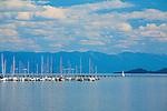 Docked sailboats on Flathead Lake in western Montana