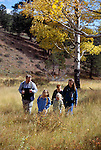 A family of five hiking in a meadow amidst fall color in Rocky Mtn Nat'l Park, CO