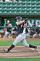 Hunter Melton (15) of the Grand Junction Rockies follows through on his swing against the Ogden Raptors during the Pioneer League game at Lindquist Field on August 26, 2016 in Ogden, Utah. The Raptors defeated the Rockies 6-5. (Stephen Smith/Four Seam Images)