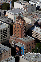 aerial photograph of the Elks Tower, Sacramento, California, Jorit Agoch mural in the foreground