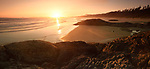 Pacific Rim National Park, beautiful panoramic sunset scenery of the sandy Long Beach. Pacific ocean shore during low tide. Green Point, Tofino, Vancouver Island, BC, Canada. Image © MaximImages, License at https://www.maximimages.com