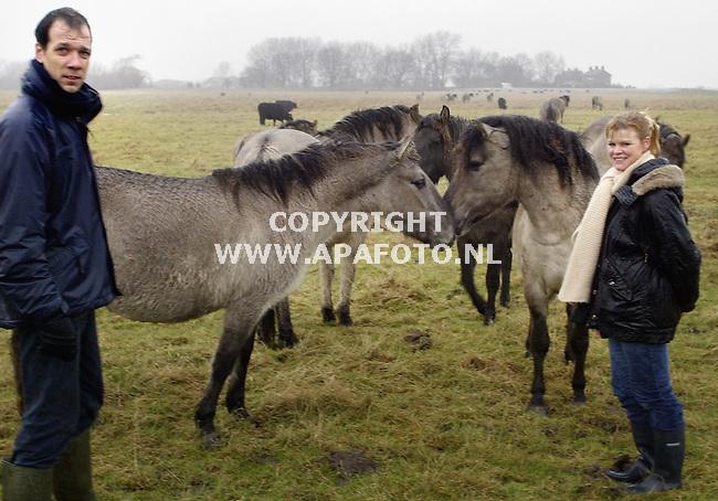 Millingerwaard, 020103<br />Margriet Markerings bij een wild paard. Links van haar Gijs Kurstjer<br />Foto: Sjef Prins - APA Foto