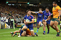 17th July 2021; Brisbane, Australia;  France's Baptiste Couilloud celebrates as he scores a try during the Australia versus France, 3rd Rugby Test at Suncorp Stadium, Brisbane, Australia on Saturday 17th July 2021.